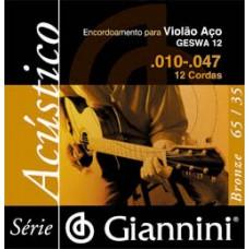 ENC GIANNINI VIOLÃO AÇO 010-047 12 CORDAS AÇO - GESWA12